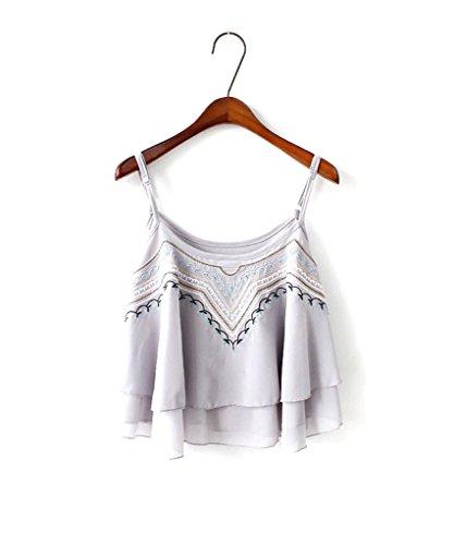 Drasawee - Camiseta sin mangas - trapecio - para mujer gris