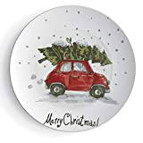 iPrint 8'' Christmas Decorations Ceramic Decorative Plates Red Retro Car Xmas Tree Vintage Family Style Illustration Snowy Art