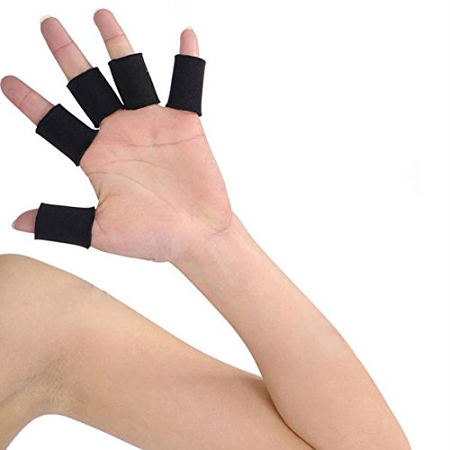 Tinksky 10pcs Professional Basketball Volleyball Soft Fingerstalls Finger Protective Covers Sprain Finger Guards (Black)