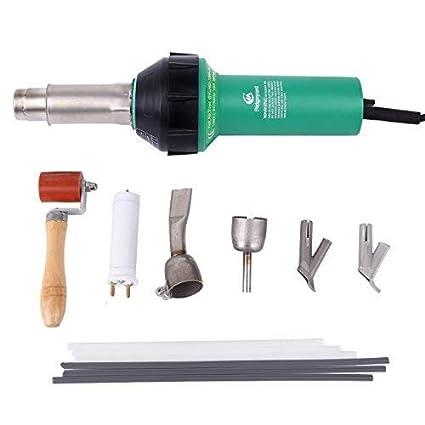MuGuang 1600W Plástico Soldador Pistola de Aire Caliente Plastic Hot Air Welder Welding Gun con Speed Boquillas Roller PE PVC Plastic Rod(verde)