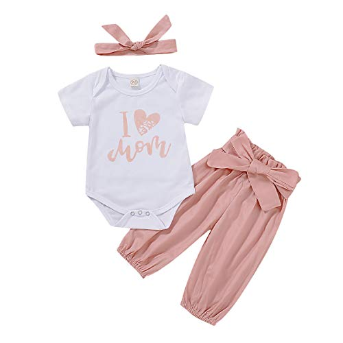 Baby Girl Clothes Happy Mother's Day Outfit for Girl Short Sleeve Romper +Bow Long Pants Headband 3PCS -