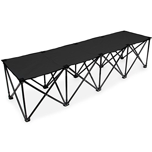 (Crown Sporting Goods 6-Foot Portable Folding 4 Seat Bench with Carry Bag - Great Team Bench for Soccer & Football Sidelines, Tailgating, Camping & Events)