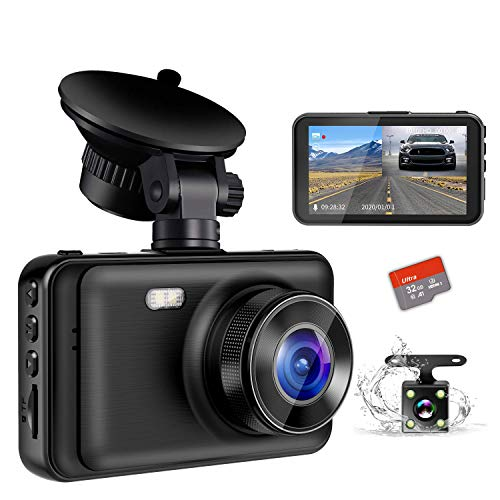 Dash Camera for Cars, YOCHOS 1080P Front and Rear Dual Dash Cam, 3″ LCD Screen 170° Wide Angle Dash Cam with Night Vision WDR G-Sensor Parking Monitor Loop Recording Motion Detection.(SD Card Include)