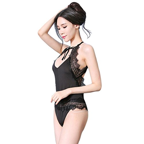 Longra ♥Lace Ropa interior mujer Babydoll G-string Set Deep V Tie Lingerie Pijamas Negro