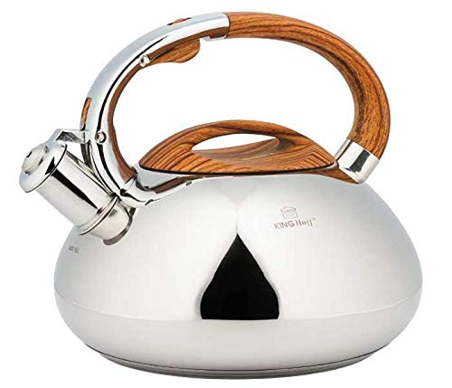 Stainless Steel Induction Whistling Kettle (Silver / Brown)
