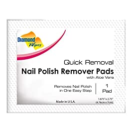 Diamond Wipes Nail Polish Remover Pads, Individually Sealed Packets, Pre-Soaked Extra Thick Removal pads, Ideal for Makeup Home Travel Cosmetics (Pack of 60)