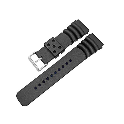 (Rubber Curved Line Watch Band 20mm Divers Model Fit for Seiko Watches )