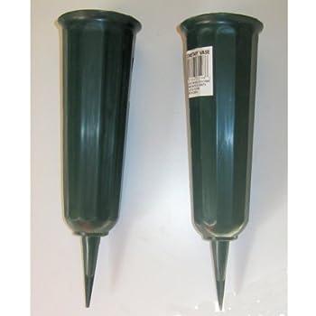Amazon Com Novelty 05041 Metal Cone Cemetery Vase Green Cemetary Vases Garden Amp Outdoor