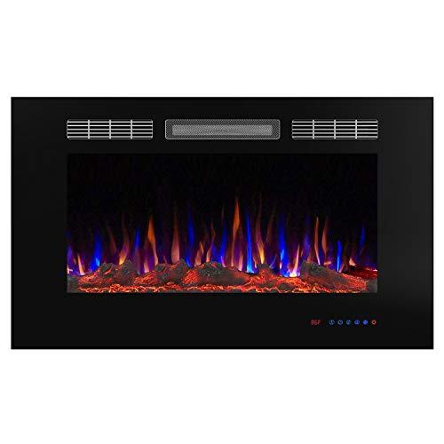Valuxhome 36 Inches Recessed Fireplace Electric Heater 1500W, Remote Control, Timer, Thermostat, Crystal and Logset, Black