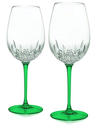 Emerald Green Waterford Crystal Lismore Essence Red Wine Goblet with Colored Stem Accent-set of 2- Additional Vibrant Colors Available by -