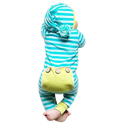 Napoo Newborn Baby Boy Girl Striped Hooded Hairball Romper Outfits (3M, Blue)