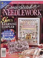BETTER HOMES AND GARDENS CROSS STITCH & NEEDLEWORK Magazine February 1997 Volume XII No. 3 (Crafts Group Collection, Girl's learning sampler,) (Gardens Stitch Homes And Cross Better)