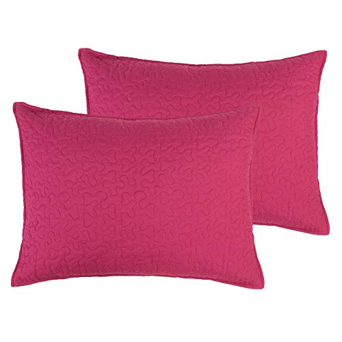 ALCSHOME Standard Quilted Pillowcases, Set of 2, 100% Brushed Microfiber, Super soft and Warm, Standard, Magenta