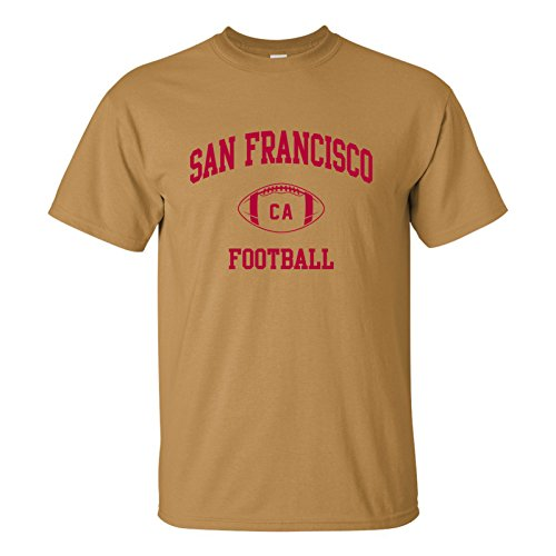 San Francisco Classic Football Arch Basic Cotton T-Shirt - Large - Old Gold