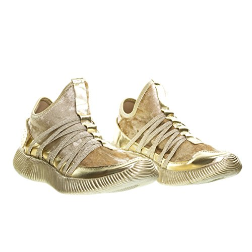 Remy18 4gold Lacets Rock Paillettes Mode Sneaker W Langue Élastique Et Semelle Blanche -5.5