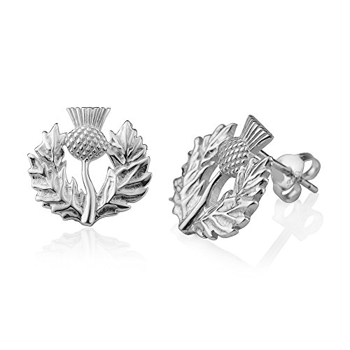 (925 Sterling Silver Thistle Cirsium Flower Scotland National Symbol Small Post Stud Earring 15 mm )
