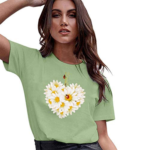 Casual Graghic T Shirt for Women,QueenMMWomen Basic Printed Short Sleeve O Neck Tops Flower and Ladybug Blouse t-Shirt Green