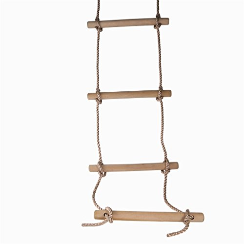 iUcar Children Toy Sturdy Indoor/Outdoor Wood Rope Climbing Ladder Toy for Kids