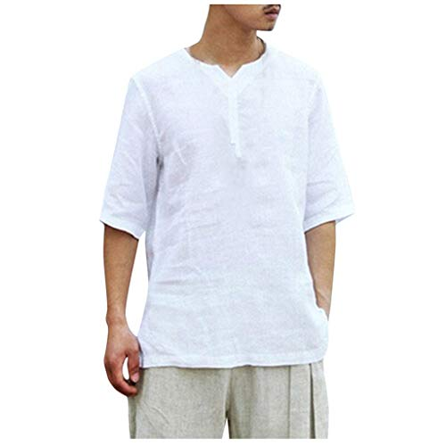TUSANG Men Tees Summer Cool and Thin Breathable Collar Hanging Dyed Gradient Cotton Shirt Loose Comfy Tunic(White,US-10/CN-XL)