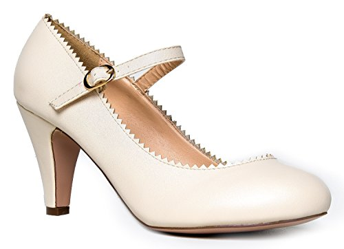 Mary Jane Kitten Heels, Vintage Retro Scallop Round Toe Shoe With An Adjustable Strap, 7 B(M) US, Nude PU