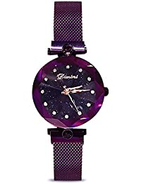 Fashion Analogue Quartz Watches Magnetic Mesh Band Starry Sky Dial Simulated Diamond Wrist Watches for Girl/Women...
