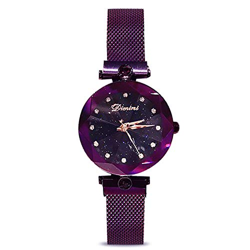 RORIOS Fashion Analogue Quartz Watches Magnetic Mesh Band Starry Sky Dial Simulated Diamond Wrist Watches for Girl/Women Waterproof by RORIOS (Image #1)