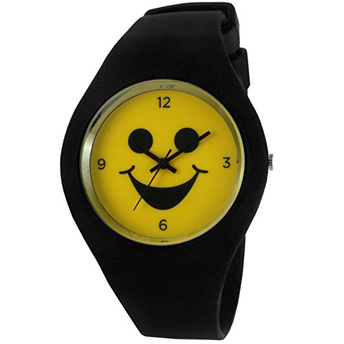 Watch Men Smiley Face (TKO Emoji Black Rubber Smile Icon Fun Smiley Face Watch TK663BK)