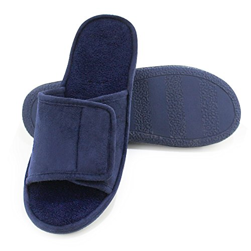 Magtoe Men Washable Faux Suede Adjustable Memory Foam Home Open Toe Indoor Slippers (X-Large, Blue)