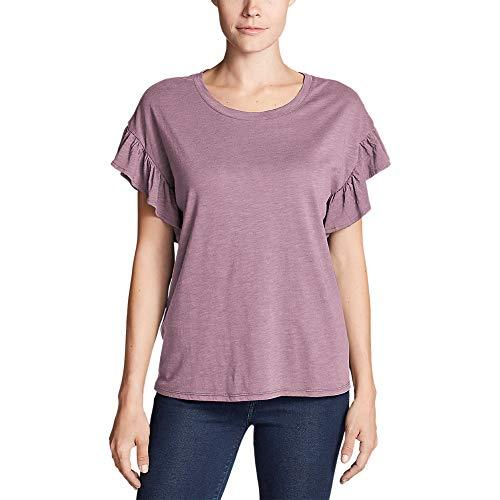 Willow Ruffle Shirt - Eddie Bauer Women's Willow Short-Sleeve Ruffle Top, Dusty Purple Regular M