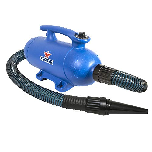 Xpower Supply - XPOWER B-27 Super Tub Pro 6 HP, Double Motor Dog Force Dryer- Adjustable Variable Speed- Used for Bathers, Self-Wash Stations, Pet Grooming - Blue