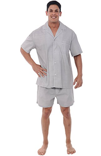 Cotton Pj Shorts (Alexander Del Rossa Mens Cotton Pajamas, Short Button-Down Woven Pj Set, XL Grey Striped (A0697R61XL))