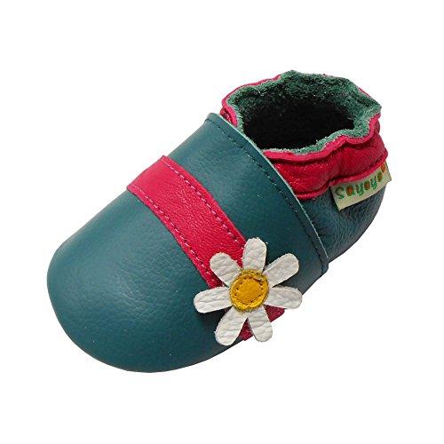 Sayoyo Baby Cute Flower Soft Sole Leather Infant Toddler Prewalker Shoes (Cyan,12-18 Months)