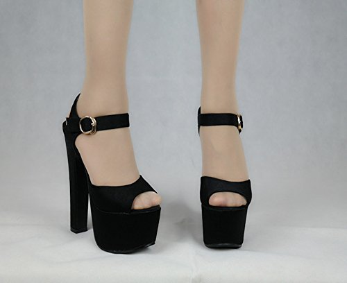 AJUNR ruvida sexy 36 Alla 36 di Sandali negozio Donna Tallone Moda Scarpe Da Black notte 0FpWOF