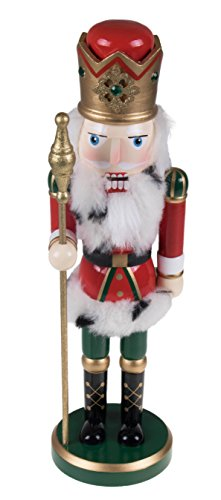 "Tall Ornate King Nutcracker by Clever Creations | Traditional Red and Green Uniform Holding Scepter | Classic Collectible Nutcracker | Perfect for Any Decor Theme | 100% Wood | 14"" Tall"