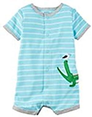 Baby Boy Striped Alligator Romper