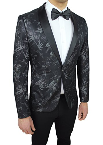 Abito completo uomo sartoriale nero tessuto raso floreale elegante cerimonia