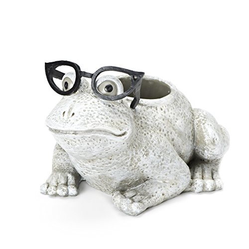 Roman Exclusive White Frog Wearing Silly Black Spectacles Planter, 6-Inch, Made of - Novelty Spectacles