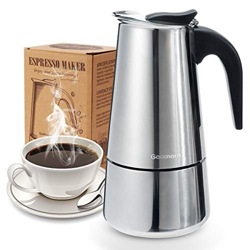 Stovetop Espresso Maker, Moka Pot, Godmorn Italian Coffee Maker 450ml/15oz/9 cup (espresso cup=50m), Classic Cafe Percolator Maker, 430 Stainless Steel, Suitable for Induction Cookers