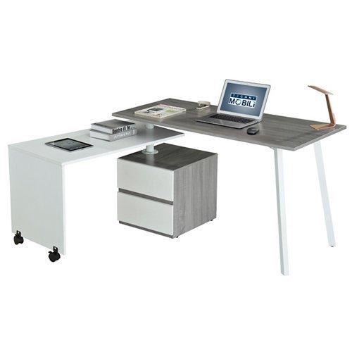 TECHNI MOBILI Rotating Multi-Positional Modern Office Desk - Gray -