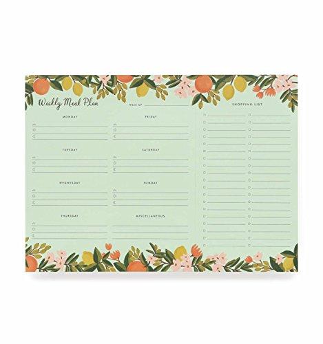 Rifle Paper Co Citrus Floral Meal Planner (Rifle Paper Calendar)