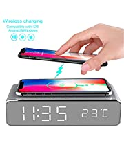 Mellion LED Alarm Clock Time Temperature Display Wireless Charger Charging Pad Dock, Qi-Certified for iPhone 11, 11 Pro Max, XR, Xs Max, XS, X, 10W Charging Galaxy S10 S9 S8, Note 10 Note 9 and More