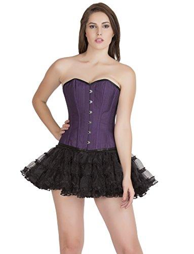 曇った未接続行商人Purple Poly Cotton Black Piping Waist Cincher Gothic Costume Overbust Corset Top