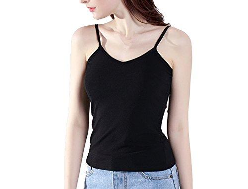 Bmeigo Mujer V Cuello Camisole Delgado Thin Basic Camisetas sin mangas -K14 Black