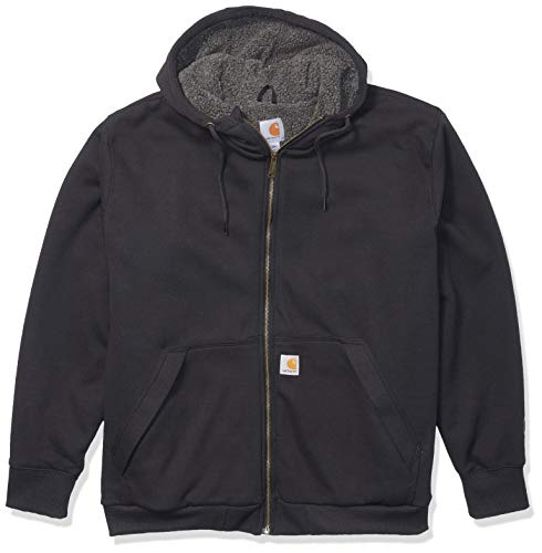 Carhartt Men's Big & Tall RD Rockland Sherpa Lined Hooded Sweatshirt, Black, 4X-Large