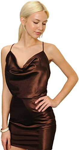 Draped Cocktail Mini Dress (Trend Director Women's Metallic Satin Brown Strap Draped Cocktail Party Mini Dress (Medium))