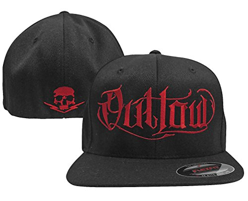 Outlaw Threadz Men's Script Hat Red (Black, One Size Fits Most Most) (Flex Fit Outlaw Hat)