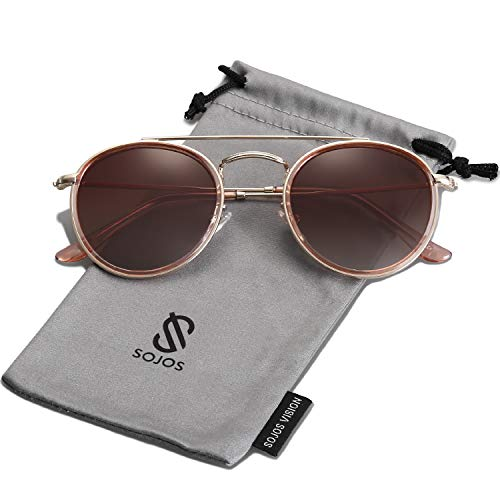 SOJOS Small Round Polarized Sunglasses Double Bridge Frame Mirrored Lens SUNSET SJ1104 with Gold Frame/Gradient Brown Polarized Lens