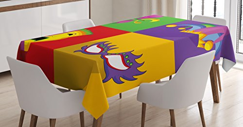 (Ambesonne Mardi Gras Tablecloth, Colorful Frames with Mardi Gras Masks Harlequin Hat and Fleur De Lis Print, Dining Room Kitchen Rectangular Table Cover, 52