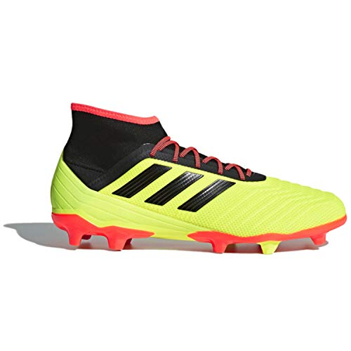 adidas Men's Predator 18.2 FG Soccer Shoe, Solar Yellow/Black/Solar red, 10.5 M US
