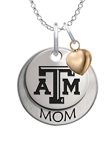 M Aggies 1 Charm - Texas A&M Aggies Sterling Silver Stacked MOM Charm Necklace with Heart Accent
